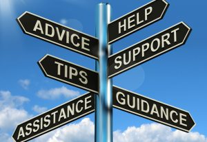 Image of road sign with words of help, advice, tips, support, assistance and guidance